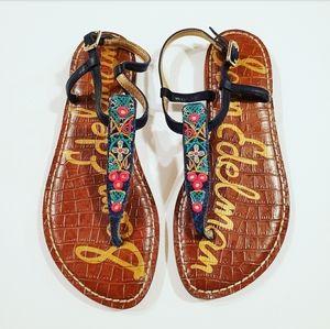 Sam Edelaman Embroidered Gigi Sandals Size 6
